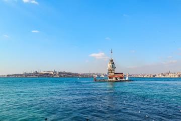 Kiz kulesi (Maiden's tower) in bosphorus from asian side of Istanbul, Turkey