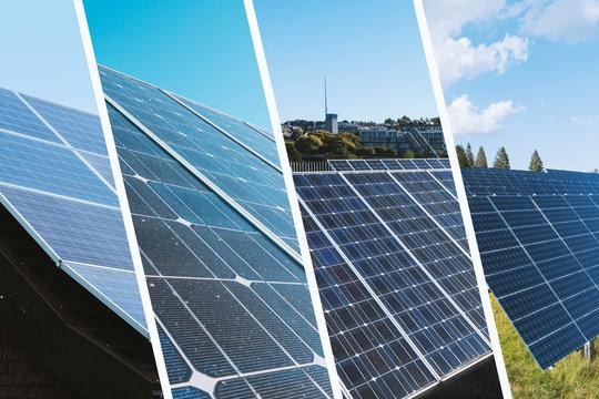 Solarzellen Collage Erneuerbare Energie