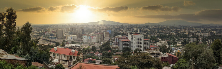 Poster Afrique Panorama of the Capital City of Ethiopia, Addis Ababa