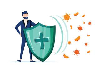 Fototapeta Immune system vector icon logo. Health bacteria virus protection. Medical prevention human germ. Man reflect bacteria obraz