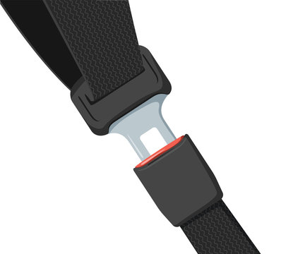 Car safety belt. Seatbelt safe buckle icon isolated. Security strap fasten accident insurance. Caution, life safe