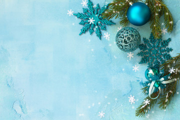 New Year concept background. Christmas composition Christmas decor on a blue background. Top view...