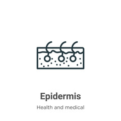 Epidermis outline vector icon. Thin line black epidermis icon, flat vector simple element illustration from editable health and medical concept isolated on white background