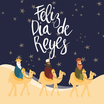 Vector illustration card for Epiphany celebration. Cute cartoon character of three wise men. Caption translation: Happy Three Kings Day