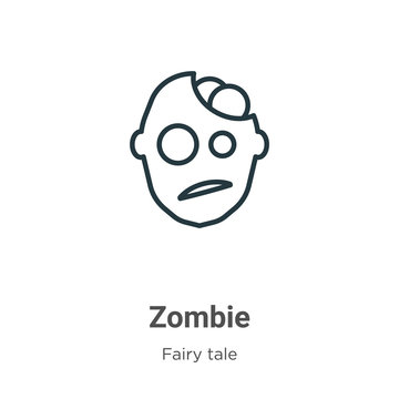 Zombie outline vector icon. Thin line black zombie icon, flat vector simple element illustration from editable fairy tale concept isolated on white background