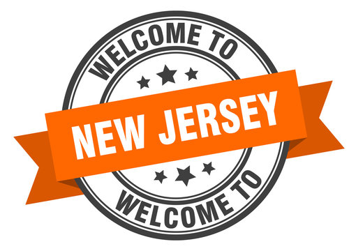 New Jersey stamp. welcome to New Jersey orange sign