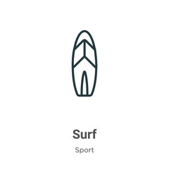 Surf outline vector icon. Thin line black surf icon, flat vector simple element illustration from editable sport concept isolated on white background