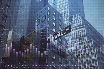 Forex chart on cityscape with tall buildings background multi exposure. Financial research concept.