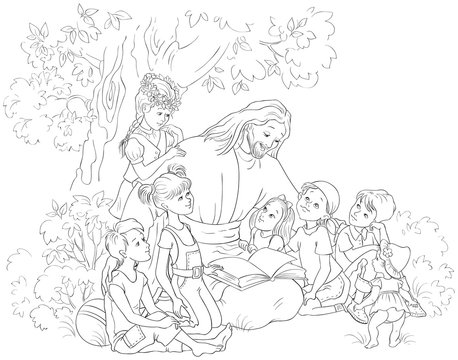 Jesus reading the Bible with Children coloring page. Vector cartoon christian black and white illustration