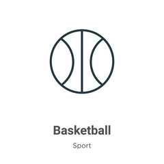Basketball outline vector icon. Thin line black basketball icon, flat vector simple element illustration from editable sport concept isolated on white background