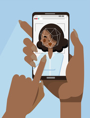 African woman hand holding black smartphone with Face ID on screen. Facial recognition concept. Two female hands holding face recognition system. Modern application. Flat cartoon character