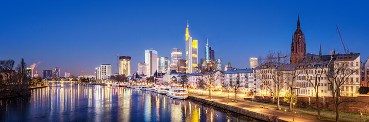 Frankfurt am Main, River, Bridge, Tour Boats at the Quay, Skyline, Germany