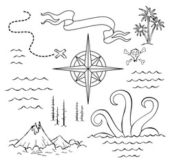 Old hand drawn map with vintage, wind rose, routs, nautical symbols and handwritten inscri ptions. Vector abstract seamless background on the theme of travel, adventure and discovery