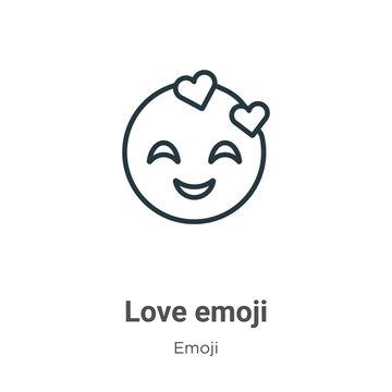 Love emoji outline vector icon. Thin line black love emoji icon, flat vector simple element illustration from editable emoji concept isolated on white background