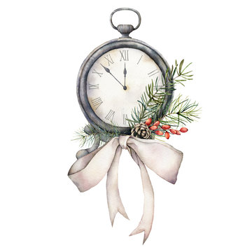 Watercolor vintage table clock with bow. Christmas illustration with pine needles and berries isolated on white background. Five minutes to twelve o'clock of new year. For design, print or background.