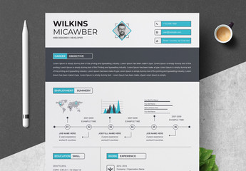 Resume Layout with Dark  Header and Blue Infographic Elements