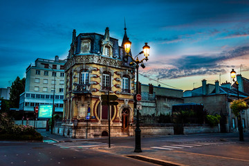 Old house in the beautifull city of Epernay France during Sunset