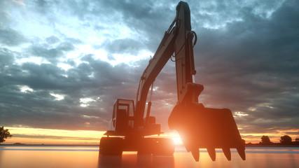Heavy excavator over orange sunset background. 3d rendering
