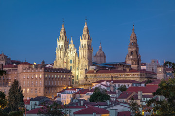 Santiago de Compostela, Spain. View of illuminated Cathedral at dusk