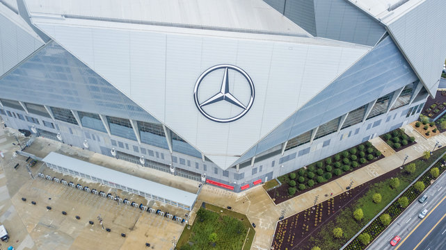 USA, Atlanta, October 2019: Aerial view on Mercedes-Benz Stadium in Atlanta, Georgia