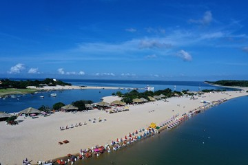 aerial image of Amor beach located in the municipality of Alter do Chão state of Pará in the Brazilian Amazon region