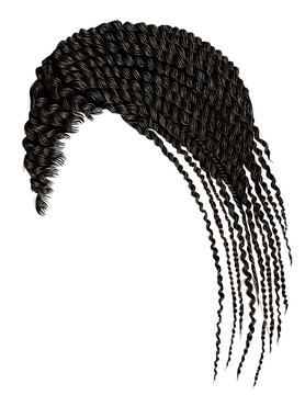 trendy african hair cornrows. realistic 3d. fashion beauty style.