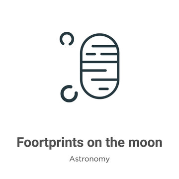 Foortprints on the moon outline vector icon. Thin line black foortprints on the moon icon, flat vector simple element illustration from editable astronomy concept isolated on white background