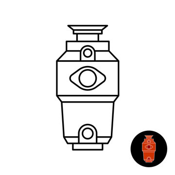 Kitchen food waste disposer line icon. Garbage disposal unit symbol. Adjustable stroke width.