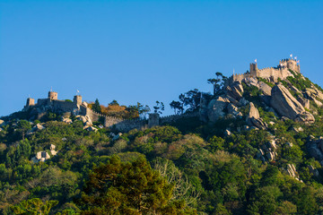 Moorish Castle seen from the Regaleira Palace in Sintra, Portugal.