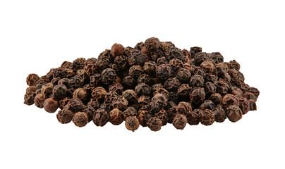 Black peppercorns isolated on white background with copy space for text or images. Spices and herbs. Packaging concept. Close-up, side view.