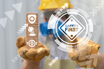 Safety First Work Dangerous Construction Concept. Secure Health Industry Worker.