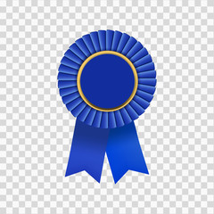 isolated blue ribbon badge with gold tab on transparent background, concept for first prize award logo badge.