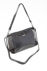 women's leather black handbag on white background