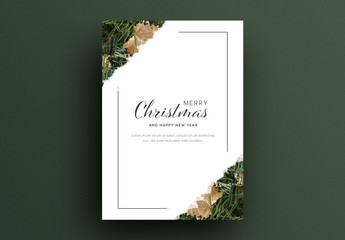 Christmas Card Layout with Seasonal Ornaments