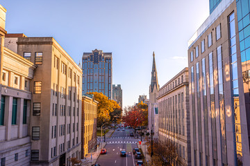 View of Downtown Raleigh at North Salisbury Street in fall season at sunset time,North Carolina,USA. Fototapete