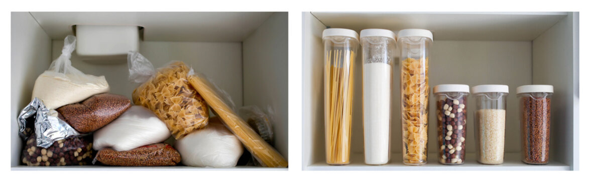Unorganized storage of cereals in the kitchen cabinet. Macaroni, sugar, buckwheat, corn balls in sack bags.