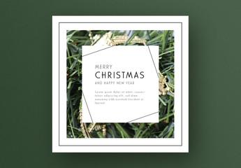 Seasonal Christmas Card Layout with Greenery Frame