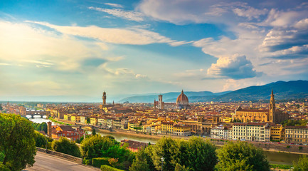 Canvas Prints Florence Florence or Firenze sunset aerial cityscape.Tuscany, Italy
