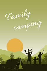 Poster Groene koraal Family camping, outdoor activities and travel. People in nature - forest, mountains and sun. Children and parents have a rest together. Dad, mom and sons are happy to watch the sunset. Flat vector.