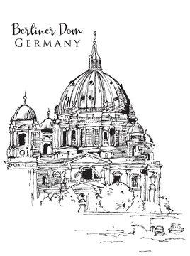 Drawing sketch illustration of Berliner Dom