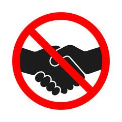 Handshake forbidden sign on white background.