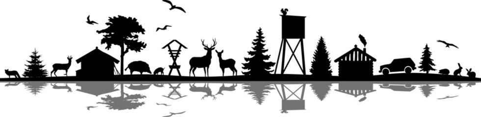Forest Nature Landscape Skyline Vector Silhouette Wall mural