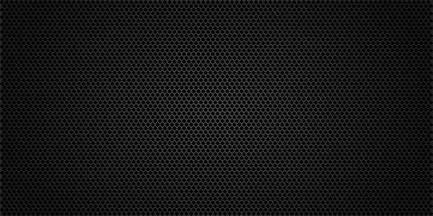 Black metallic abstract background, perforated steel mesh. Dark mockup for cool banners, vector illustration.