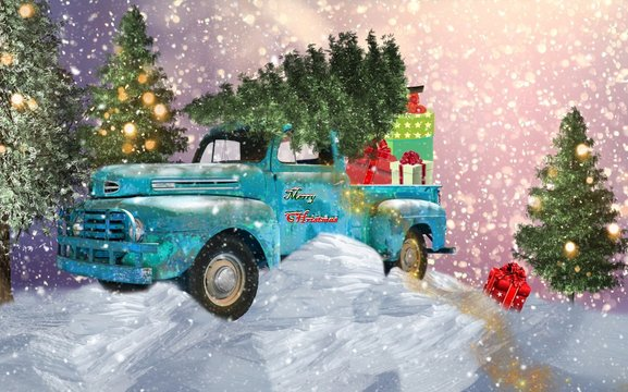 Old blue car carries Christmas presents and stuck in snow among trees. There are lights on the trees and it`s snowing.
