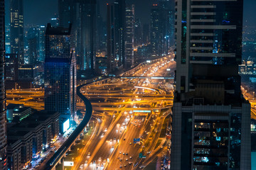 Busy traffic in downtown Dubai at night