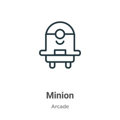 Minion outline vector icon. Thin line black minion icon, flat vector simple element illustration from editable entertainment concept isolated on white background