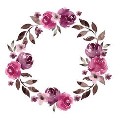 Ilustracja Akwarela Wieniec, kwiaty i liście