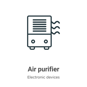 Air purifier outline vector icon. Thin line black air purifier icon, flat vector simple element illustration from editable electronic devices concept isolated on white background