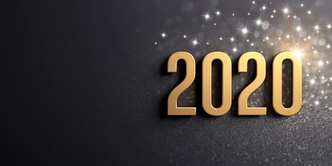 New Year gold date 2020 for Greeting card