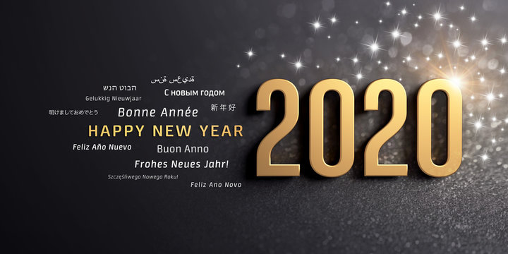 Happy New Year 2020 international Greeting card